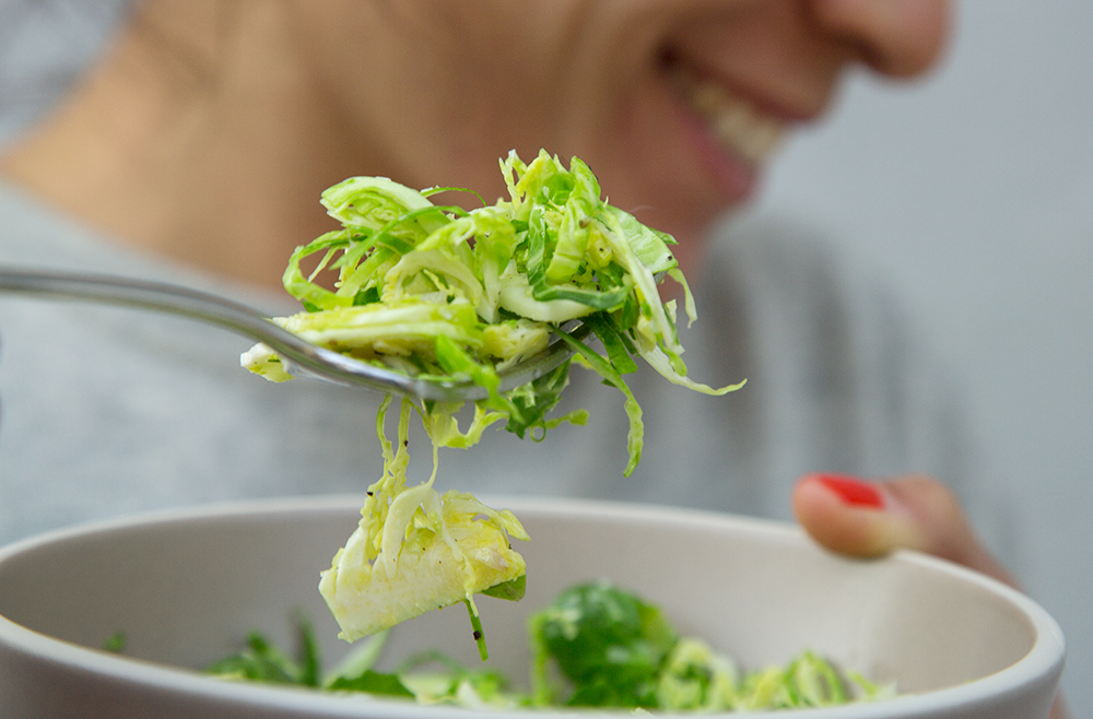 Shredded Raw Brussel Sprouts with Pecorino, Lemon and Olive Oil