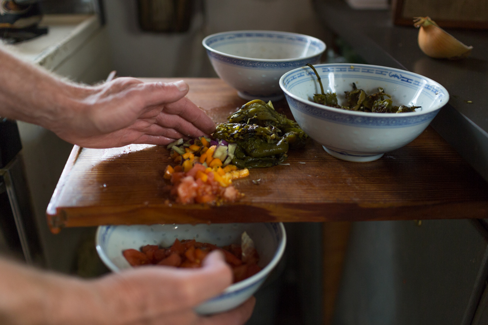 Kevin Cannon's Roasted Japanese Yams And Roasted Green Chile Salsa