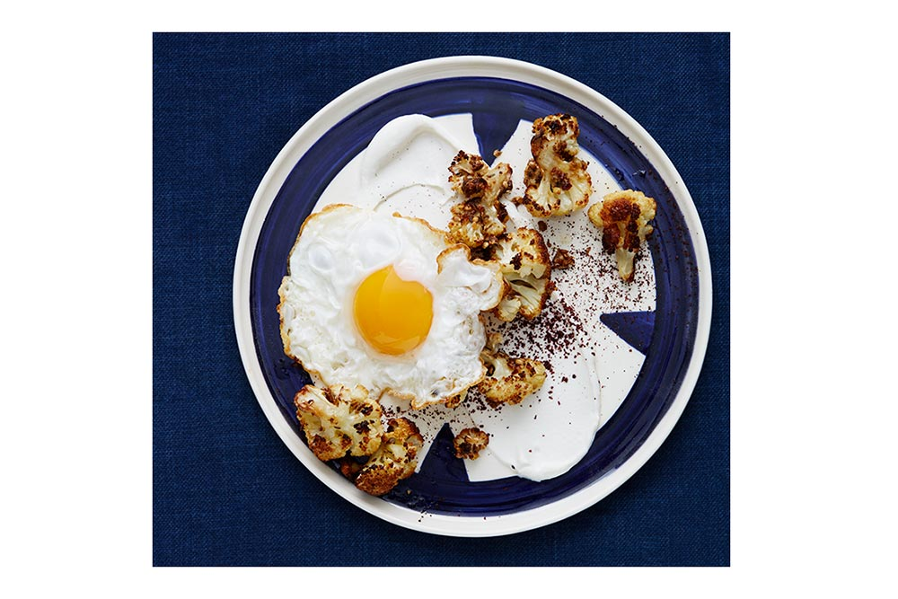 Golden Coriander Cauliflower with Labneh and A Fried Egg